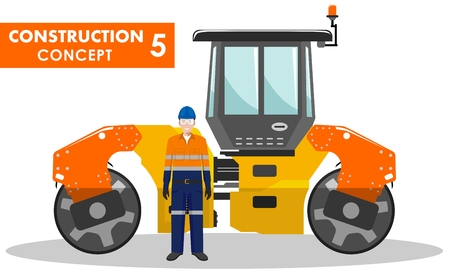 compactor: Detailed illustration of compactor and worker in flat style on white background. Illustration
