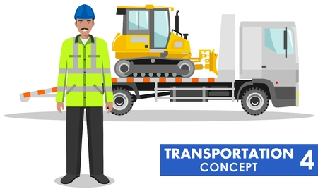 transporter: Detailed illustration of auto transporter, dozer and worker on white background in flat style.