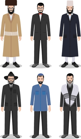 jewish group: Detailed illustration of different standing jewish men in the traditional national clothing isolated on white background in flat style.