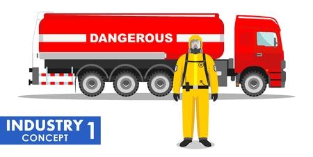 sustancias toxicas: Ilustración detallada de camión cisterna que lleva química, sustancias radioactivas, tóxicas, peligrosas y de los trabajadores en traje de protección sobre fondo blanco en estilo plano. Vectores