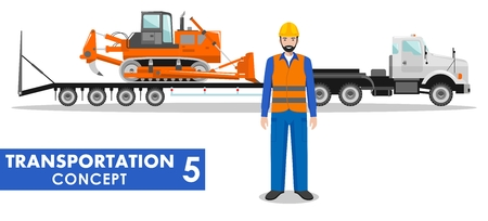 haul: Detailed illustration of auto transporter, dozer and worker on white background in flat style.