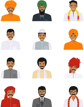 Detailed illustration of different indian men avatars icons set in the traditional national hindu clothing isolated on white background in flat style.