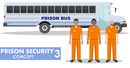 prison guard: Detailed illustration of prison bus and prisoners on white background in flat style.