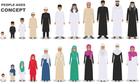 All age group of arab man family.