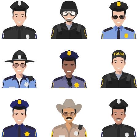 Set of colorful police flat style icons: sheriff, SWAT officer and policeman. Vector illustration.
