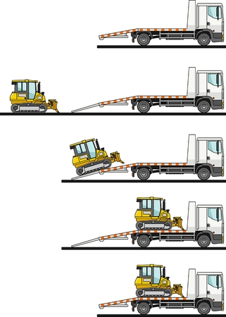 transporter: Detailed illustration of car auto transporter and dozer on white background in flat style in different positions. Vector illustration.