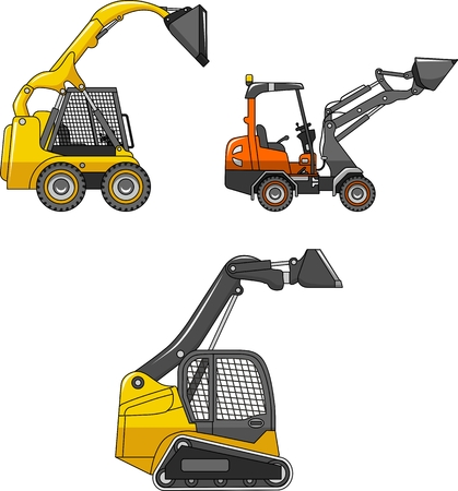 steer: Detailed illustration of skid steer loaders, heavy equipment and machinery Illustration