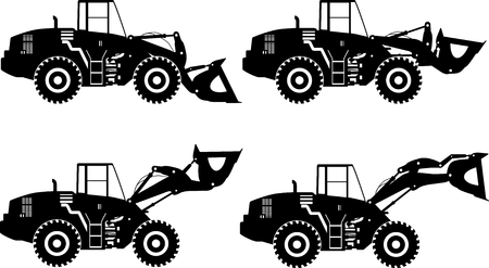 heavy: Silhouette illustration of wheel loaders, heavy equipment and machinery on white background. Illustration