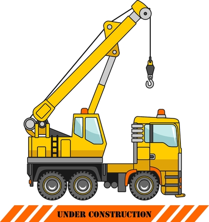 earth mover: Detailed illustration of crane, heavy equipment and machinery Illustration