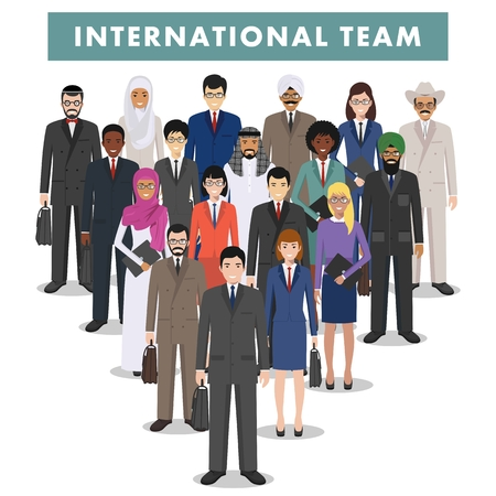 business people standing: Group of creative people isolated on white background. Set of diverse business people standing together. Different nationalities and dress styles. Cute and simple in flat style. Illustration