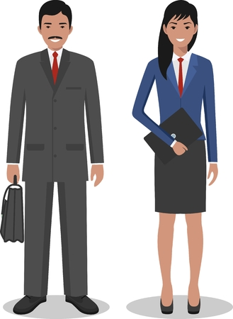 Group of creative people isolated on white background. Set of diverse business man and woman standing together. Cute and simple in flat style.  イラスト・ベクター素材