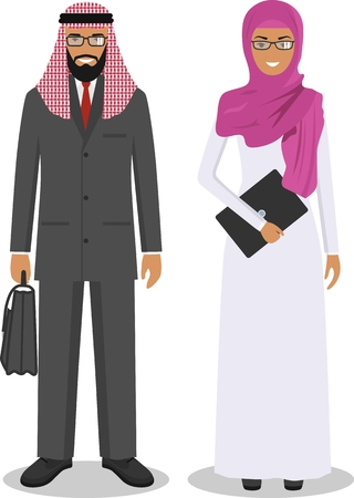 Group of creative arab people isolated on white background. Set of business arabic man and woman standing together. Cute and simple in flat style.