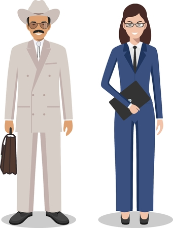 Couple of creative american people isolated on white background. Set of business USA man and woman standing together. Cute and simple in flat style. Illustration