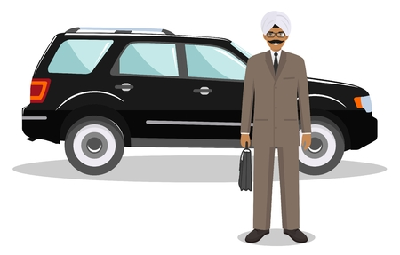 indian professional: Detailed illustration of automobile and indian businessman on white background in flat style.