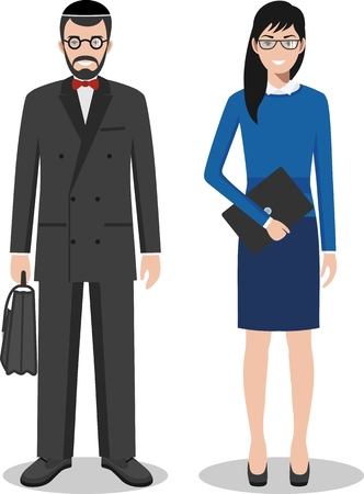 jews: Couple of creative people isolated on white background. Set of jewish business man and woman standing together. Cute and simple in flat style.