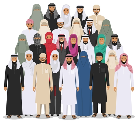 multy: Arab man and woman standing together in different traditional islamic clothes on white background in flat style. Different dress styles. Flat design people characters. Social concept. Family concept.