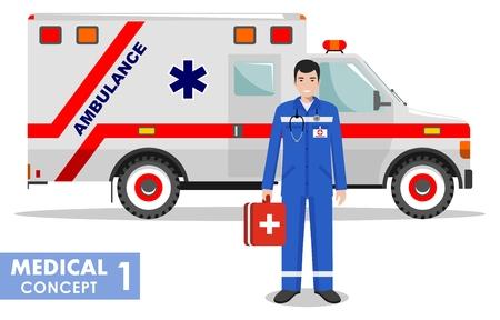 emt: Detailed illustration of medical people and ambulance car in flat style on white background. Illustration