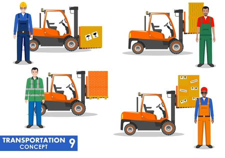 forklifts: Detailed illustration of forklifts and workmans in flat style on white background.