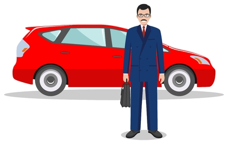 Detailed illustration of automobile and businessman on white background in flat style.