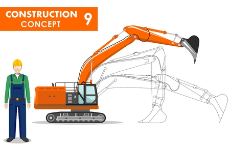 machine operator: Detailed illustration of workman and excavator in flat style on white background.