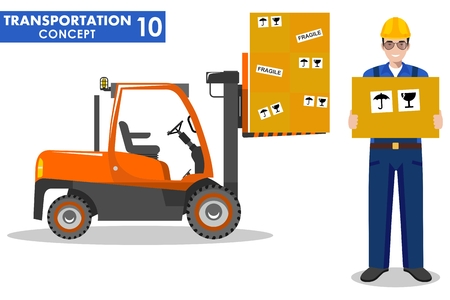 workman: Detailed illustration of forklift and workman hold the box in flat style on white background.