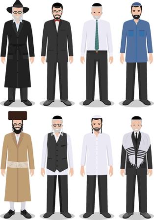 フラット スタイルの白い背景に分離された伝統的な国民服で異なる立っているユダヤ人の老いも若き男性の詳細なイラスト。