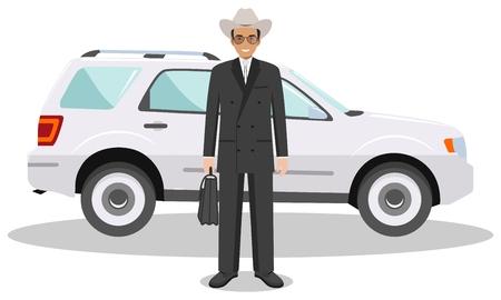 Ilustración detallada de automóviles y americano, hombre de negocios europeo en el fondo blanco en el estilo plano.