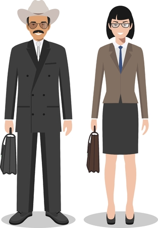 Couple of creative american people isolated on white background. Set of business USA man and woman standing together. Cute and simple in flat style.