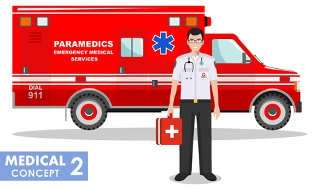 Detailed illustration of medical people and ambulance car in flat style on white background. Illustration