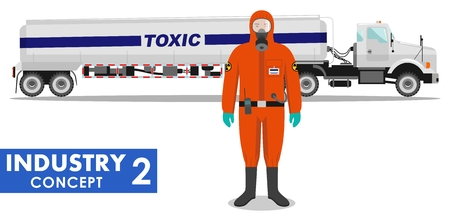 substances: Detailed illustration of cistern truck carrying chemical, radioactive, toxic, hazardous substances and worker in protective suit on white background in flat style. Illustration