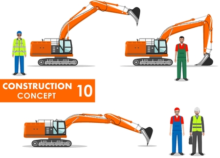 workman: Detailed illustration of workman, engineer, businessman and excavator in flat style on white background.