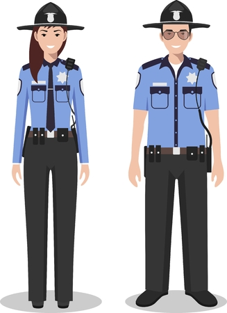 Couple of american police people isolated on white background. Set of USA policeman and policewoman standing together. Cute and simple in flat style. Vettoriali