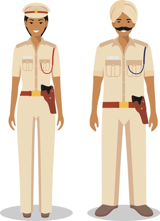 indian professional: Couple of indian police people isolated on white background. Set of policeman and policewoman standing together. Cute and simple in flat style.