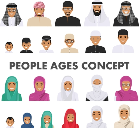 Different muslim arab people characters avatars icons set in flat style isolated on white background. Differences islamic saudi arabic ethnic persons smiling faces in traditional clothing. Vector.