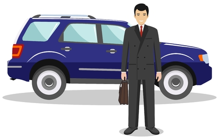 vacation with laptop: Asian businessman standing near the blue car on white background in flat style. Business concept. Flat design people character. Vector illustration. Illustration