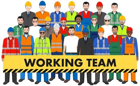 Groupe de travailleur, constructeur et ingénieur debout ensemble sur fond blanc dans un style plat. Concept de travail en équipe et en équipe. Différentes nationalités et styles vestimentaires. Personnages de design plat.