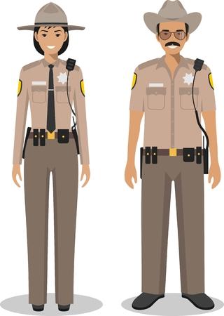 femme policier: Couple de policier américain et policier, debout, ensemble sur fond blanc dans un style plat. Police USA concept. design plat gens personnages. Vector illustration. Illustration