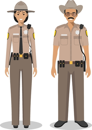 Couple of american policeman and policewoman standing together on white background in flat style. Police USA concept. Flat design people characters. Vector illustration.