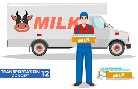 milkman: Transportation concept. Detailed illustration of driver, farmer and milk truck on white background in flat style. Vector illustration.