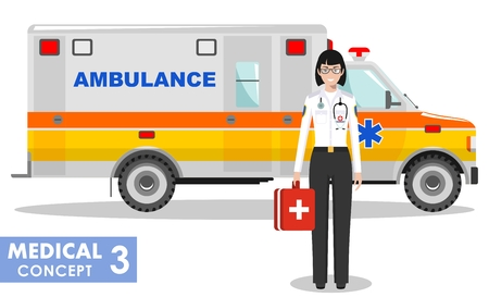 Medical concept. Detailed illustration of emergency doctor woman and ambulance car in flat style on white background. Vector illustration.