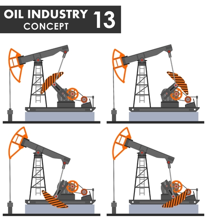 Oil industry concept. Different kind oil pumps isolated on white background in flat style. Vector illustration.