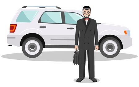 judaic: Jewish businessman standing near the car on white background in flat style. Business concept. Detailed illustration of automobile and judaic man. Flat design people character. Vector illustration.