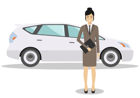 Detailed illustration of automobile and asian businesswoman on white background in flat style.