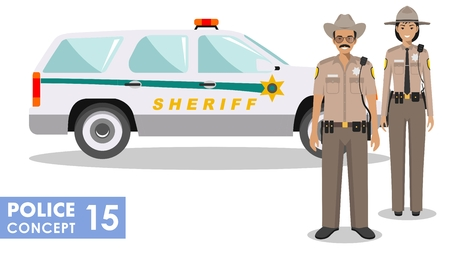 Policeman concept. Detailed illustration of american policeman and policewoman standing together near the police car in flat style on white background. Vector illustration. Stock Photo