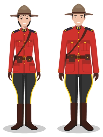 Couple of canadian policeman and policewoman in traditional red uniforms standing together on white background in flat style.