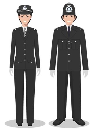 Coppia di poliziotto britannico e poliziotta in uniformi tradizionali in piedi insieme su sfondo bianco in stile piatto. Vettoriali