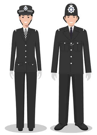 Couple of british policeman and policewoman in traditional uniforms standing together on white background in flat style.
