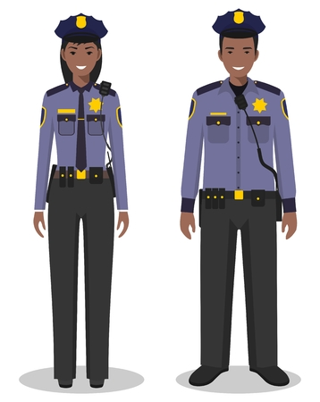 Couple of african american policeman and policewoman standing together on white background in flat style. Police USA concept. Flat design people characters. Vector illustration. Ilustração