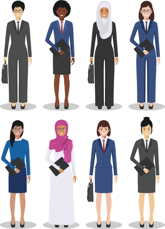 Business team and teamwork concept. Set of different detailed illustration of businesswomen in flat style on white background. Different nationalities and dress styles. Vector illustration.