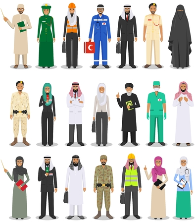 Different people professions occupation characters man and woman set in flat style isolated on white background. Templates for infographic, sites, banners, social networks. Vector illustration.